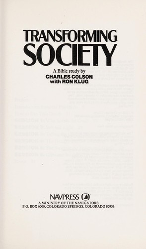 Transforming Society by Colson