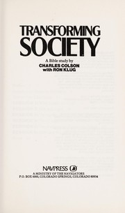Cover of: Transforming Society | Colson