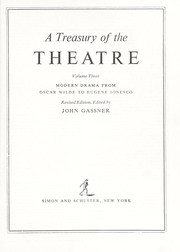Cover of: TREAS THEATER 3 (From Wilde to Eugene Ionesco) | John gassner