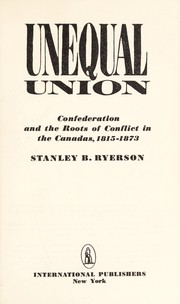 Cover of: Unequal union