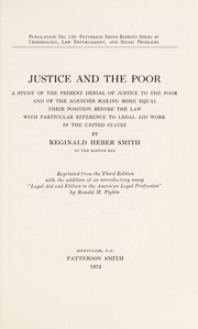Cover of: Justice and the poor | Reginald Heber Smith