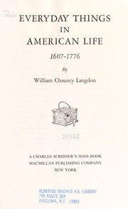 Cover of: EVERYDAY THINGS IN AMERICAN LIFE, 1607-1676 (Everyday Things, 1607-1676) | Langdon