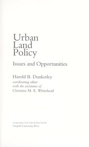 Cover of: Urban land policy |