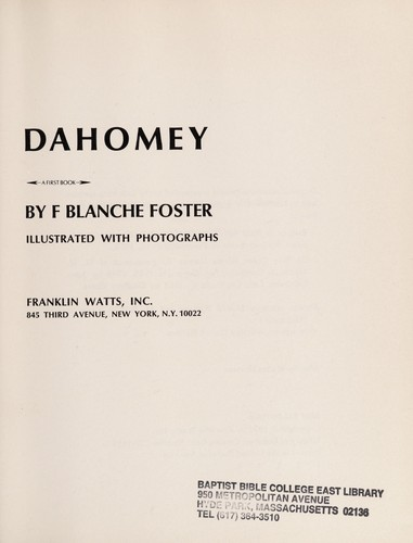 Dahomey by F. Blanche Foster