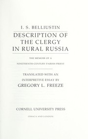 Cover of: Description of the clergy in rural Russia | BelliНЎustin, ДЄ. S.