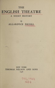 Cover of: The English theatre