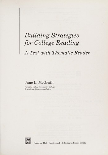 Building strategies for college reading by Jane L. McGrath