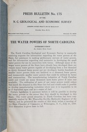 Cover of: The water powers of North Carolina