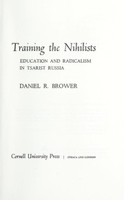 Cover of: Training the Nihilists | Brower, Daniel R.