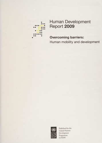 Human development report 2009 by United Nations. Development Programme.