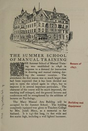 Cover of: Summer school of manual training, July 7-Aug. 11, 1897 | Columbia University. Teachers College