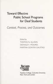 Cover of: Toward effective public school programs for deaf students