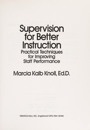 Cover of: Supervision for better instruction