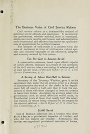 Cover of: The business value of Civil Service Reform | National Civil Service Reform League (U.S.)