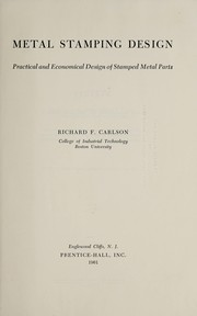 Cover of: Metal stamping design