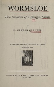 Cover of: Wormsloe | Coulter, E. Merton