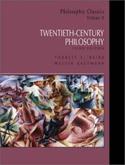 Cover of: 20th Century Philosophy (Philosophic Classics, Volume V--3rd Edition) | Forrest E. Baird