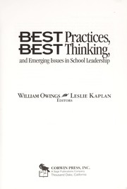 Cover of: Best practices, best thinking, and emerging issues in school leadership |