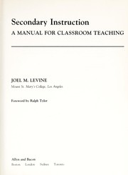 Cover of: Secondary instruction | Joel M. Levine