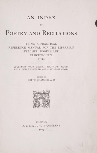An index to poetry and recitations (1909 edition) | Open Library