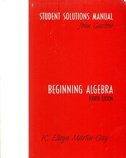 Cover of: Beginning Algebra Student Solutions Manual 4th Edition