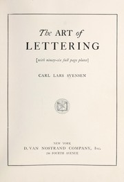 Cover of: The art of lettering | Carl Lars Svensoen