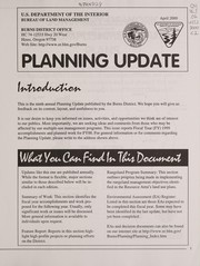Cover of: Planning update for the Burns District | United States. Bureau of Land Management. Burns District