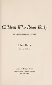 Cover of: Children who read early | Delores Durkin