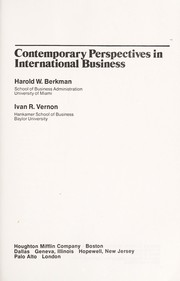 Cover of: Contemporary perspectives in international business | Harold W. Berkman