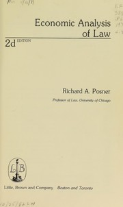 Cover of: Economic analysis of law | Richard A. Posner