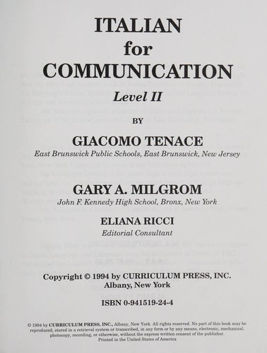 Italian for communication by Giacomo Tenace