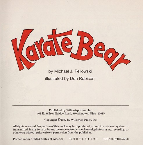 Karate Bear by Michael J. Pellowski