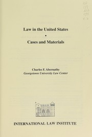 Cover of: Law in the United States | Charles F. Abernathy