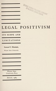 Cover of: Legal positivism | Samuel I. Shuman