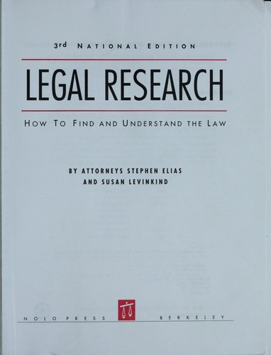 Legal Research by Stephen Elias, Susan Levinkind