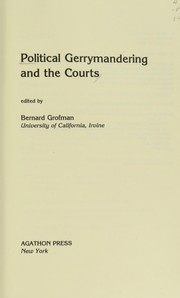 Cover of: Political gerrymandering and the courts |