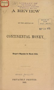 Cover of: A review of the article on continental money, in Harper's Magazine for March 1863