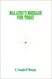 Cover of: Malachi's Message for Today