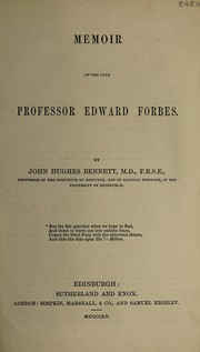 Memoir of the late Professor Edward Forbes
