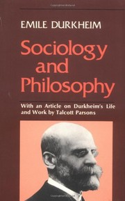 Cover of: Sociology and philosophy