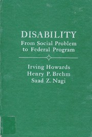 Cover of: Disability, from social problem to federal program