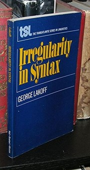 Cover of: Irregularity in syntax