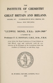 "Cover of: ""Ludwig Mond, F. R. S., 1839-1909,"""