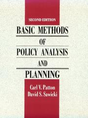Cover of: Basic methods of policy analysis and planning by Carl V. Patton