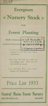 Cover of: Evergreen nursery stock for forest planting, both commercial and decorative | Central Maine Forest Nursery