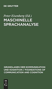 Cover of: Maschinelle Sprachanalyse (Grundlagen Der Kommunikation Und Kognition/Foundations of Co) (German Edition)