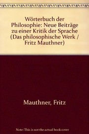 Cover of: Wörterbuch der Philosophie
