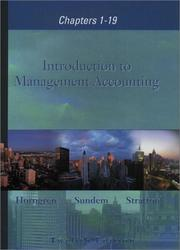 Cover of: Introduction to Management Accounting 1-19 and Student CD package, 12th Edition | Charles T. Horngren