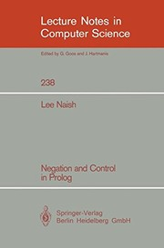 Cover of: Negation and Control in Prolog (Lecture Notes in Computer Science)