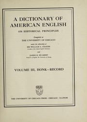 Cover of: A dictionary of American English on historical principles
